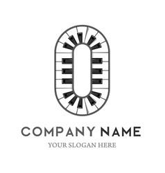 O letter logo design piano keyboard logo vector