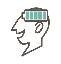Outlined male face profile with full battery vector