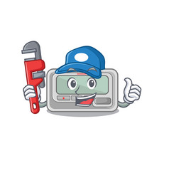 Plumber pager cartoon isolated with character vector