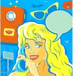 Pop Art Style Girl With Phone vector