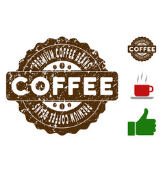 premium coffee beans badge stamp with grungy vector image