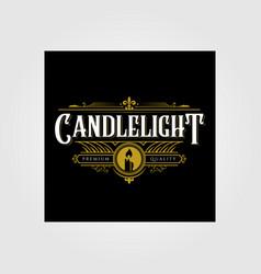 Premium vintage candle light flame line art logo vector