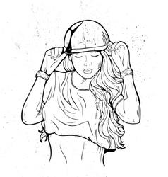 Rap attractive girl vector