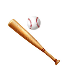 Realistic baseball bat and ball for betting vector