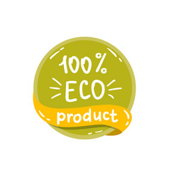 round green label with text eco product vector image