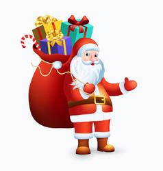 santa claus with big bag full gifts vector image