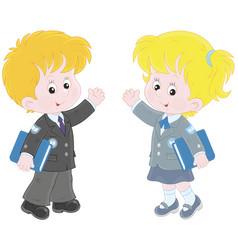 Schoolchildren with books vector