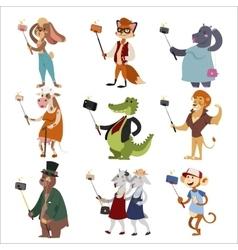 Selfie shots animals cartoon vector