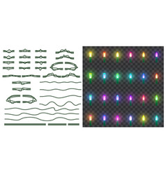 set christmas lights isolated on transparent vector image