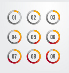 set nine circular web progress bar icons vector image