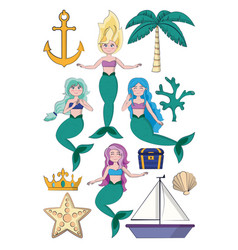 set of beautiful mermaids cartoons vector image