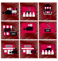 set of flat icons in shading style cinema vector image