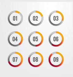set of nine circular web progress bar icons vector image