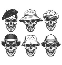 set of skulls in the hats vector image