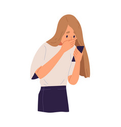 Shocked woman closed mouth hand look at screen vector