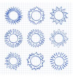 sketch sun icons hand drawn sunshine symbols vector image