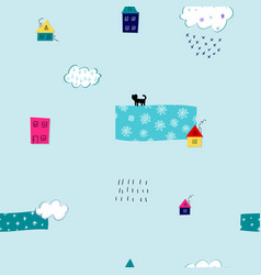 Snow flakes fall winter season pattern vector