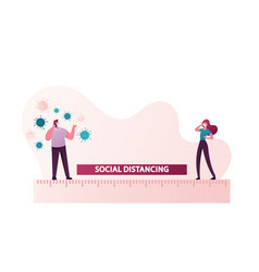 Social distancing people keep distance in public vector