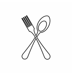 Spoon and fork icon outline style vector image