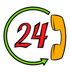 Support call center 24 hours icon cartoon vector