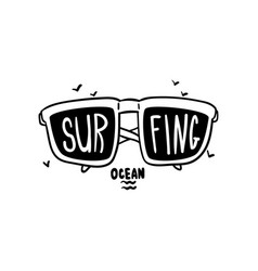 Surfing logo hand drawn design element with vector