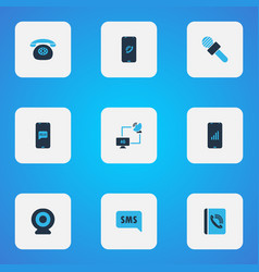 telecommunication icons colored set with phone vector image