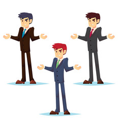 thinking businessman standing shruging young vector image