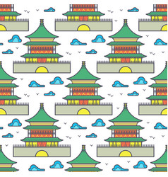 Traditional asian chinese house seamless pattern vector