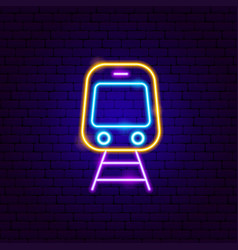Train front neon sign vector