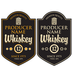 two retro labels for whiskey in the curly frame vector image
