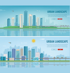 Urban landscape modern city building vector