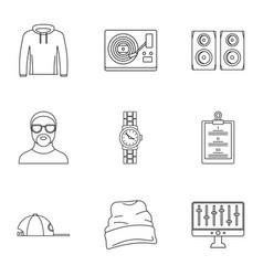 Urban rap icon set outline style vector