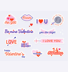 Valentine day stickers and elements love concept vector