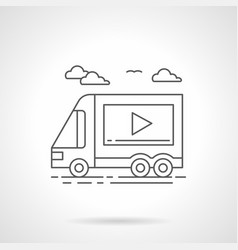 Video ads on transport flat line icon vector