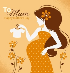 Vintage beautiful pregnant woman vector image