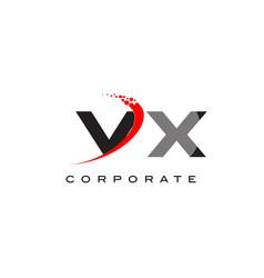 vx modern letter logo design with swoosh vector image