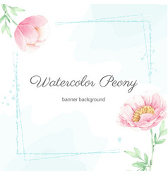 watercolor pink peony flower bouquet frame with vector image
