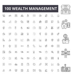 Wealth management line icons signs set vector