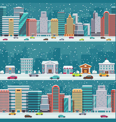 winter city streets with cars and buildings vector image