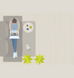 Woman working on sofa from top view vector