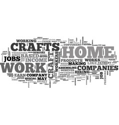 Work at home crafts text word cloud concept vector