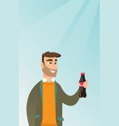 Young man drinking soda vector