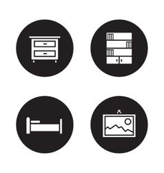 Bedroom furniture black icons set vector