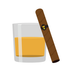 Glass of whiskey with cigar premium alcohol vector