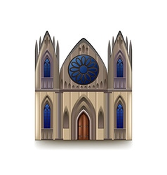 Gothic cathedral isolated on white vector image