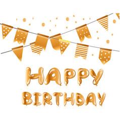 happy birthday gold balloons vector image