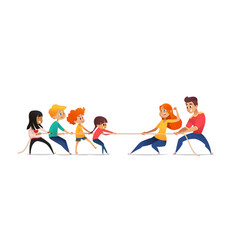 mom dad and children pulling opposite ends of vector image