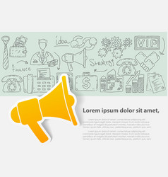template with hand drawn doodles business vector image vector image