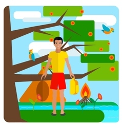 Tourist guy resting on nature Tent background vector image