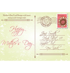 Back of Mothers Day Card in a Vintage Style vector image vector image